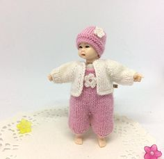 Miniature clothes for Heidi Ott doll, miniature knitting baby pink doll outfit for 2.7 inch baby, 1:12 dollhouse clothes for toddler