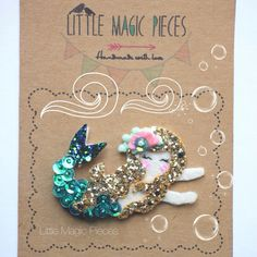 This beautiful Mermaid Hair Clip is made with love. Decorated with sequins, beads, Hand embroidery Ribbon Hair Clips, Felt Hair Clips, Ribbon Bows, Hair Bows, Baby Girl Hair Accessories, Embroidery Hearts, Glitter Fabric, Mermaid Hair, Hand Embroidery Designs