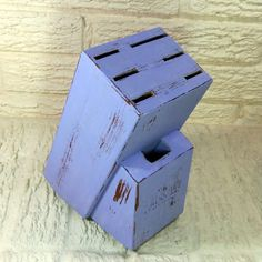 Wisteria Purple Wooden Knife Block - Shabby Chic - Kitchen Decor