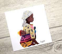"""Carte postale d'art carrée illustrée du portrait de """"Rokia"""" femme africaine afrique peinture non libre de droit"""