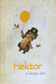 Geboortekaartje jongen - Hektor - egeltje met ballon en vogeltjes - Pimpelpluis - https://www.facebook.com/pages/Pimpelpluis/188675421305550?ref=hl (# egel - vogel - ballon - strik - vintage - retro - lief - schattig - dieren - origineel)