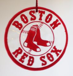 Glass Fused Boston Red Sox Sandblasted and Painted Ornament