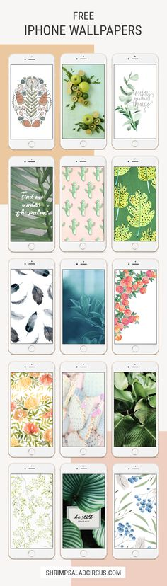 15 Free iPhone Wallpaper Backgrounds - Download these free phone wallpapers inspired by nature: plants, leaves, pretty quotes and beautiful watercolor paintings and pattern, illustrations and design!
