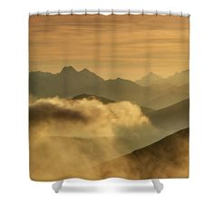Lines of mountains in light of sunrise. For more motives and staffs (canvas, fine art prints, pillows, mugs etc) check my website Shower Curtain Rings, Shower Curtains, Camera Art, Fine Art Prints, Canvas Prints, Curtains For Sale, Basic Colors, Cool Artwork, Home Deco