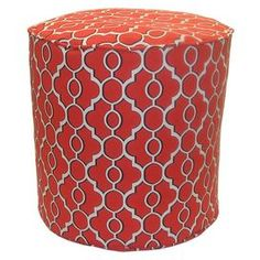 """Outdoor ottoman with a latticework motif in Firebird red.   Product: OttomanConstruction Material: PolyesterColor: FirebirdFeatures: Suitable for indoor or outdoor useDimensions: 17"""" H x 17"""" DiameterCleaning and Care: Spot clean"""