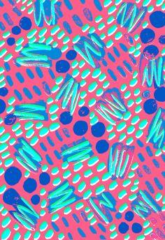Pink, blue, green squiggles - Sarah Bagshaw