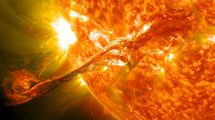 On August 31, 2012 a long filament of solar material that had been hovering in the sun's atmosphere, the corona, erupted out into space at 4:36 p.m. EDT. The coronal mass ejection, or CME, traveled at over 900 miles per second. The CME did not travel directly toward Earth, but did connect with Earth's magnetic environment, or magnetosphere, causing aurora to appear on the night of Monday, September 3.    Pictured here is a lighten blended version of the 304 and 171 angstrom wavelengths. Crop...