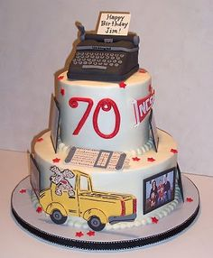 An edible scrapbook to celebrate a birthday. this cake is covered in family photos and things that represent the birthday boy. 70th Birthday, Happy Birthday, Groom Cake, Birthday Scrapbook, Google Search, Desserts, Food, Happy Brithday, Tailgate Desserts