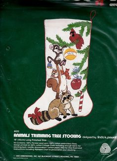 Animals Christmas Stocking Crewel Work - Animals Trimming the Tree Stocking by Dimensions - Linda K. Powell