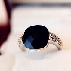 SUPIN Fashion Popular Crystal Big Black Stone Engagement Colorful Silver Rings Trendy Bijoux Alloy Resin Party Rings For Women #Affiliate