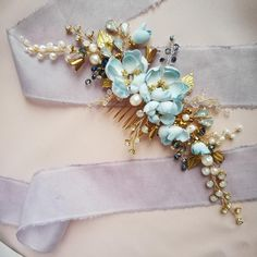 Crystal hair comb Flower hair comb Wedding comb Wedding hair Peines De Pelo  De Novia 71057d733bfb