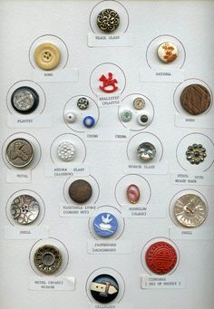 SOLD: Collectors+card+of+24+buttons+variety+of+materials+all+labeled