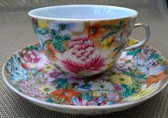 Guangxu Period Qing Dynasty Chinese Tea Cup & Saucer Millefleur from anniesavenue on Ruby Lane