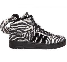 ac58218e3fd5 ADIDAS BY JEREMY SCOTT Js Zebra Fake Fur High Top Sneakers -... (