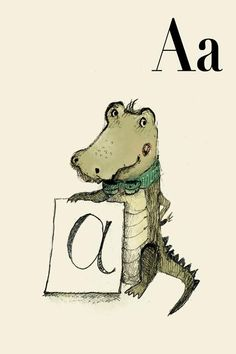 A for Alligator Alphabet animal  Print 4x6 inches by holli on Etsy, $5.50