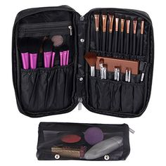 Valdler Travel Organizer Waterresistant Nylon Zipper Makeup Brush Bag with Removable Pouch Black >>> Details can be found by clicking on the image.