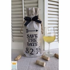 Save The Date Wine Bag Wedding Wine Bag Linen by QueensBanners