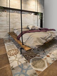 Kafelki w sypialni, wiszące łóżko, nowoczesna sypialnia, oryginalna aranżacja wnętrz. Zobacz więcej na: https://www.homify.pl/katalogi-inspiracji/13638/dekorowanie-wnetrz-kafelkami