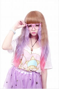 Star Print Lavender Tutu, Fairy Kei Printed T, Pink Horn Rimmed Glasses - http://ninjacosmico.com/16-fashion-tips-how-to-dress-fairy-kei/