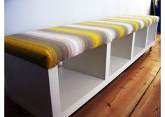 Ikea Hack - LACK shelf plus fabric, padding = bench. For shoe storage/entryway?