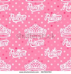 Vector lettering Princess pink. Seamless pattern. Small symbol of the crown.https://www.shutterstock.com/g/ORLOVA+YULIA?rid=3577073&utm_medium=email&utm_source=ctrbreferral-link