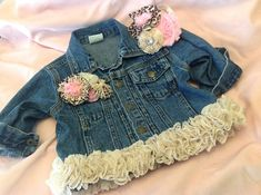 Girl's Denim Jacket with Vintage Lace & Lace and Leopard Print Flowers....Includes Free Headband
