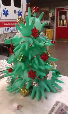 Love this idea for a Christmas tree for my Health Office!