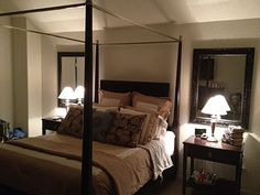 Another look at the Master Bedroom....we added the mirrors behind the nightstands on each side of the bed....it made a BIG difference!! The mirrors reflect the light from the lamps back into the room....the glow is amazing....and the ambiance is awesome ;)