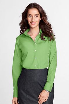 Women's Long Sleeve Modern Broadcloth Shirt from Lands' End