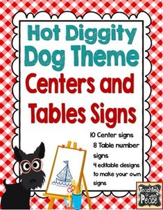 Centers and Table signs with adorable dogs...editable pages included
