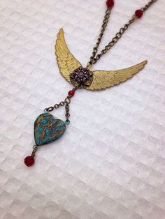 Wings and Heart Blessed Mary Locket Necklace by 3rdStreetLegacy