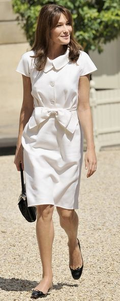 love this white dress on carla bruni