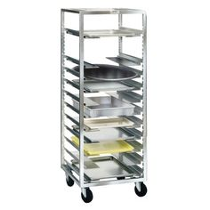 """Win-Holt Universal Pan Rack w/ Adjustable Runners by Win-Holt. $766.99. Win-Holt Universal Pan Rack w/ Adjustable Runners This fully welded aluminum frame is perfect for trays, pans or bussing and tote boxes. This rack comes with 13 sets of runners. Holds 12"""" x 20"""" steam table pans, 14"""" x 18"""" and 18"""" x 26"""" pans and trays, 20"""" x 22"""" roasting pans and oval trays up to 20"""".Model #: UBR-1 Material: Aluminum Durable Capacity: 13 trays Wheel diameter: 5"""" Bearing: Ball Tread wi..."""