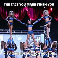 I hit zero all the time Funny Cheer Quotes, Cheer Qoutes, Cheer Funny, Cool Cheer Stunts, Cheerleading Pics, Competitive Cheerleading, Volleyball Pictures, Softball Pictures, Cheer Coaches