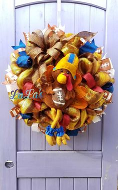 Football Turkey Wreath for Front Door- Fall Football Wreath- Fall Wreath for Front Door- Fall Wreath w Football Turkey- Turkey Fall Wreath by lalascustomdesigns on Etsy