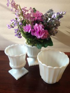 yesteryears white milk glass garden trio; planter and footed urn vase; vintage shabby chic décor wedding reception collectible on Etsy, $49.95