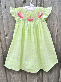 Pink Sailboat Smocked Dress