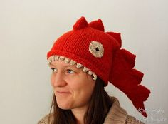 Dragon hat - handknit funny hat in orange, red, lizard or dragon hat, cool gift for her or him, can be made for kids by KnitographyByMumpitz, kr330.00