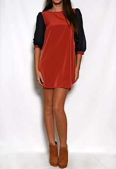 Colorblock Shift Dress with Sheer Sleeves ...perfect auburn dress