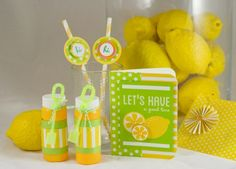 Lemon and Pool party favors with Party with Amy Locurto - #Scrapbook & #Party Designs