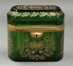 Victorian Glass Jewel Casket, Possibly Moser, Executed In Emerald Glass Having All Over Carved Floral Decoration With Gold Enamel Highlights, Mounted In Gilt Brass