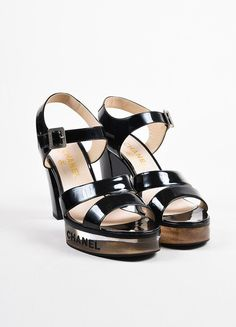 03b96693db7 Black Chanel Patent Leather  Lucite Logo Platform High Heel Sandals Platform  High Heels