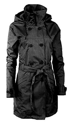 Columbia Women's Hidden Valley Hooded Belted Waterproof Long Trench Jacket (XS, Black)