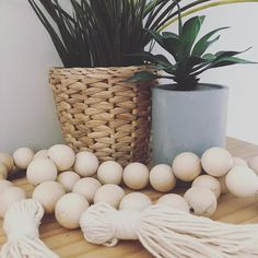 Wooden beads are one of my favourite decor items! Paint them to match your colour scheme or leave them plain! Coastal Decor, Diy Home Decor, Beaded Garland, Garlands, Wooden Beads, Decorative Items, Color Schemes, Planter Pots, Diy Projects