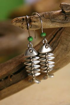 Fish Bones  Silver Dangling Earrings with by AllowingArtDesigns, $16.00