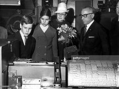 Princess Grace of Monaco with her children Princess Caroline and Prince Albert (future Albert II) visiting paper 'Nice matin' january 10, 1970 in Nice.