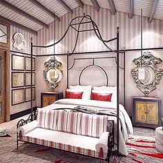 Master bedroom in a villa in Beijing. Interior design Baptiste Bohu