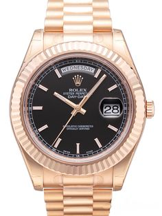 Rolex Day-Date II 218235 Everose-Gold Schwarz Index