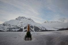 Our recommendation for today: A glass of champagne to enjoy the spectacular view over the snowy Engadin. Alpine Hotel, Glass Of Champagne, Alps, Switzerland, Skiing, Thailand, Japan, Eat, Travel