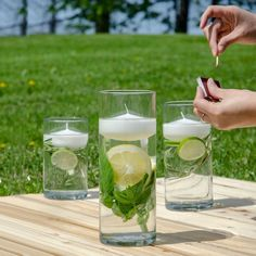 It's the unofficial start of summer. We love backyard BBQs and that patio life, but we don't like bugs. We're keeping the bugs at bay by adding some ingredients known to repel insects like citrus, basil, and rosemary to our Floating Candle centerpiece set. #Summer #OutdoorLiving #Candles #CandleLover #FloatingCandles #DIY #Centerpiece #PatioSeason Floating Candle Centerpieces, Party Stuff, Basil, Bugs, Outdoor Living, Insects, Backyard, Table Decorations, Summer